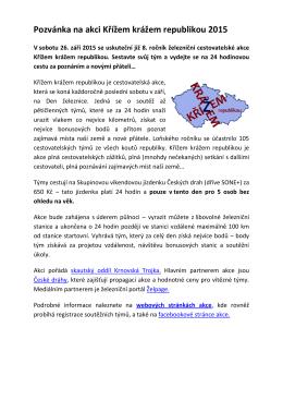 Pozvánka na akci Křížem krážem republikou 2015