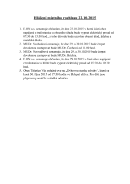Hlášení místního rozhlasu 22.10.2015