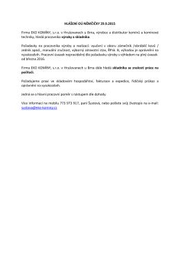 HLÁŠENÍ OÚ NĚMČIČKY 29.9.2015 Firma EKO KOMÍNY, s.r.o. v