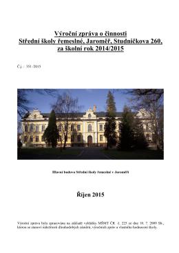 Výroční zpráva 2014/2015 - Střední škola řemeslná Jaroměř