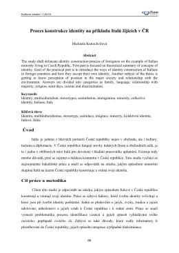 Proces konstrukce identity na příkladu Italů žijících v