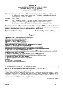 8. zápis ze zasedání zastupitelstva obce Mukařov