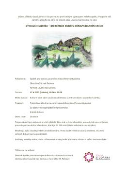 Vřesová studánka – prezentace záměru obnovy poutního místa