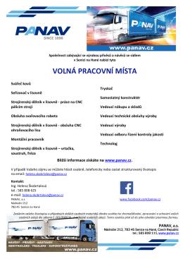 Nabídka volných pracovních míst u firmy PANAV, a.s.