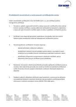 Prohlášení k nezávislosti a nestrannosti certifikujícího místa