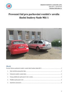 Parkování vozidel v areálu AHCR 04_2015