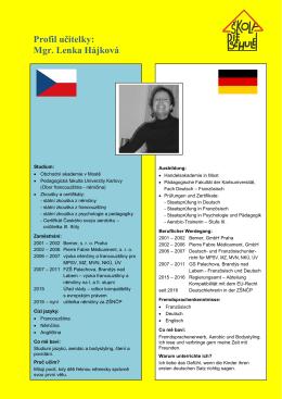 Profil učitelky: Mgr. Lenka Hájková