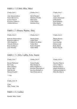 Oddíl č. 1 ( Cibrk, Olča, Jitka) Oddíl č. 2 (Honza, Pepíno, Áňa) Oddíl č