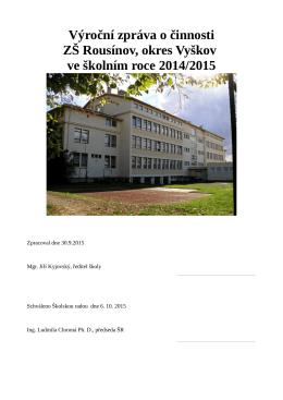 Výroční zpráva o činnosti ZŠ Rousínov, okres Vyškov ve školním