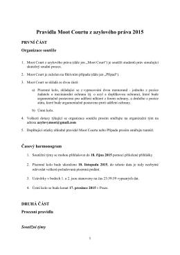 Pravidla Moot Courtu z azylového práva 2015