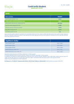 Ceník tarifu Student (platnost od 13. 10. 2015)