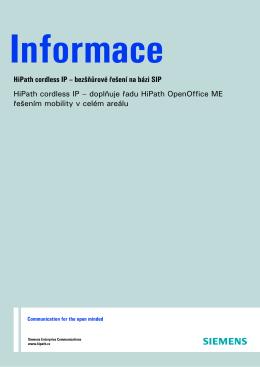 HiPath cordless IP – bezšňůrové řešení na bázi SIP HiPath cordless