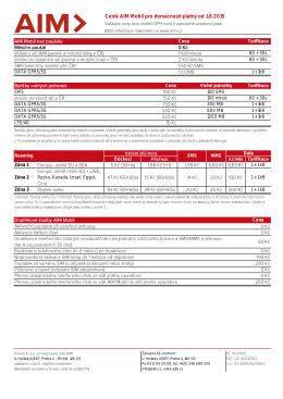 Ceník AIM Mobil pro domácnosti platný od 1.8.2015