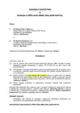 Dohodu o započtení - Fly Sport Investements