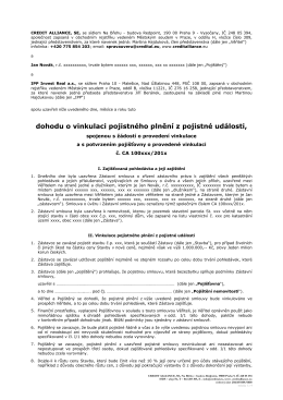 dohodu o vinkulaci pojistného plnění z pojistné