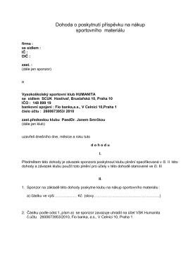 Dohoda o poskytnutí příspěvku na nákup - Vsk