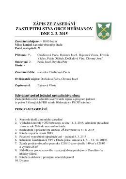 zápis ze zasedání zastupitelstva obce he manov dne 2. 3. 2015