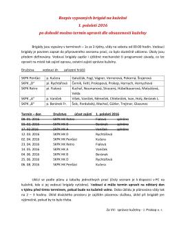 Rozpis vypsaných brigád na kuželně 1. pololetí 2016 po dohodě
