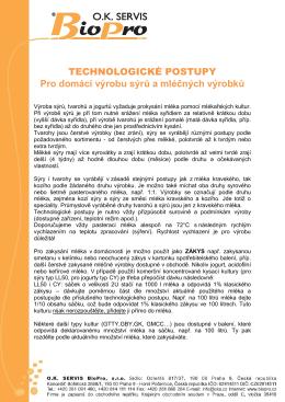 TECHNOLOGICKÉ POSTUPY pro výrobu sýrů 4-2015