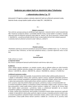 Směrnice pro nájem bytů ve vlastnictví obce Tchořovice