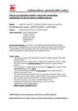 TJ Slavia Liberec - plavecký oddíl s tradicí Pokyny pro účastníky