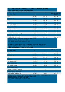 Ceník půjčovny pro dospělé