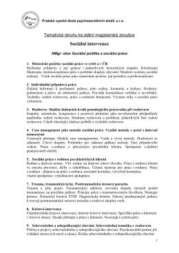 Sociální intervence - Pražská vysoká škola psychosociálních studií