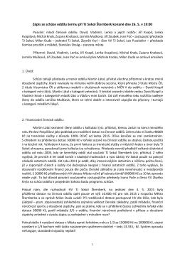 Zápis ze schůze oddílu šermu při TJ Sokol Šternberk konané dne 26