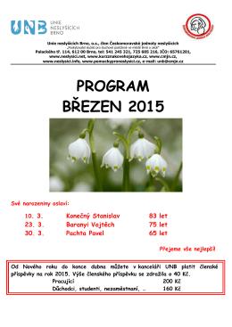 PROGRAM BŘEZEN 2015 - Unie neslyšících Brno