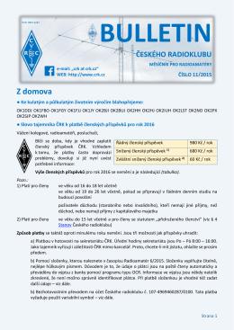 Bulletin ČRK č. 11/2015