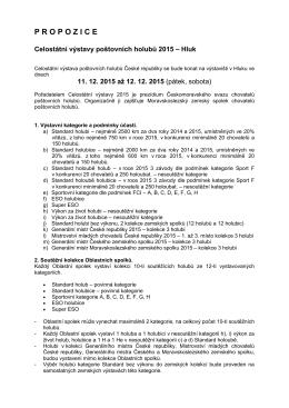 Propozice Celostátní výstavy ČMS CHPH 2015