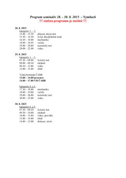Program semináře 28. - 30. 8. 2015