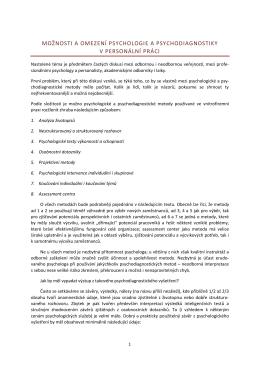 Úloha a omezení psychodiagnostiky při výběru