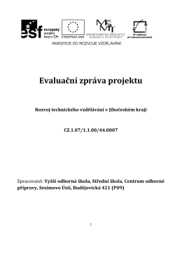 Evaluační zpráva projektu - Střední škola, Centrum odborné přípravy