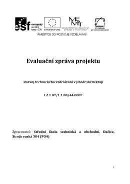 Evaluační zpráva projektu