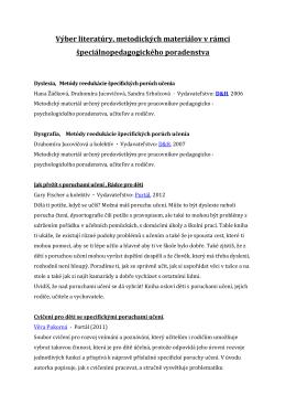 Výber literatúry, metodických materiálov v rámci