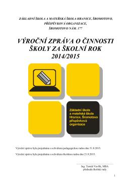 výroční zprávu o činnosti školy - Základní škola a mateřská škola
