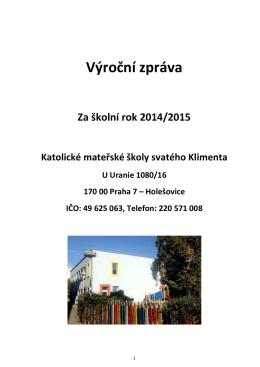 Výroční zpráva KMŠ sv. Klimenta 2014/2015