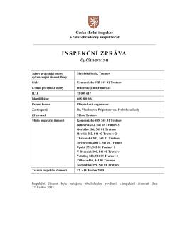 Inspekční zpráva 2015