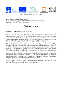 Tisková zpráva - Základní škola Želatovská, Přerov