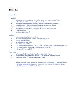 Pozice: účetní Očekáváme: • absolventa či studenta