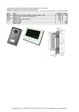 souprava dvouvodičového videotelefonu golmar pro 1 účastníka