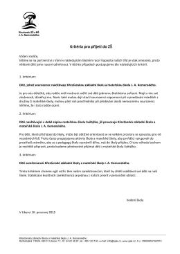 Kritéria pro přijetí do ZŠ - Křesťanská ZŠ a MŠ JA Komenského