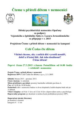 Česko čte dětem - Dětská psychiatrická nemocnice Opařany