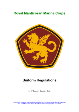 Royal Manticoran Marine Corps Uniform Regulations
