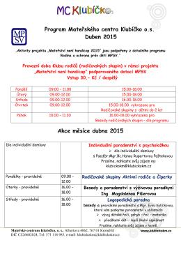 Program Mateřského centra Klubíčko os Duben 2015