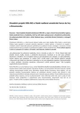 Divadelní projekt HRA-NIC-e hledá nadšené