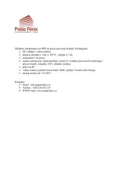 Hledáme zaměstnance na HPP na pozici provozní technik