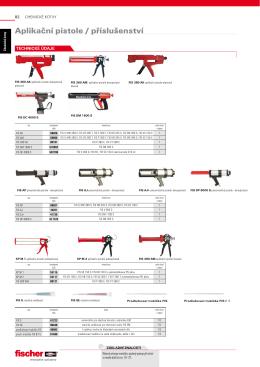 Aplikační pistole / příslušenství