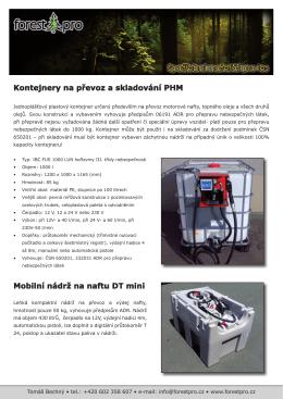 Kontejnery na převoz a skladování PHM Mobilní nádrž na